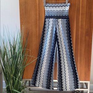 Karina Grimaldi Sheer Knit High-Rise Wide Leg Pant